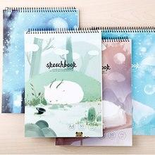 Dilosbu 1pc Spiral Notebook A4 Sketchbook Crayon School Supplies Paper