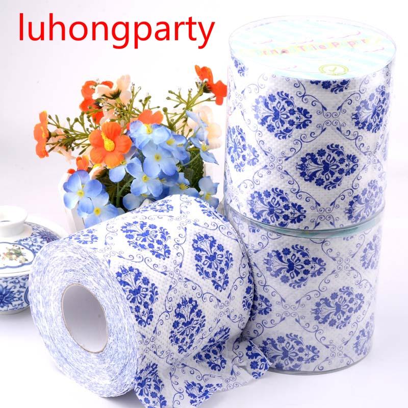 2Packs 30m/pack Blue And White Porcelain Design Paper Toilet Tissues Roll Toilet Paper Novelty Toilet Tissue Wholesale