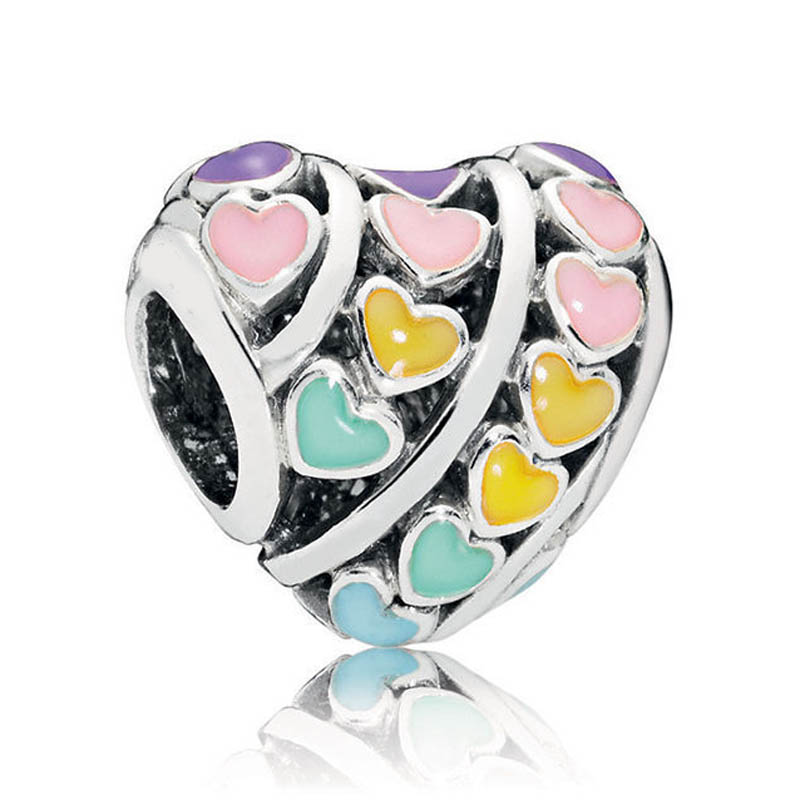 Authentic S925 Silver DIY Jewelry Mixed Enamel Rainbow Hearts Charms fit Pandora Bracelet Girl Lady Birthday GiftAuthentic S925 Silver DIY Jewelry Mixed Enamel Rainbow Hearts Charms fit Pandora Bracelet Girl Lady Birthday Gift