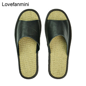 Image 5 - Genuine Cow Leather slippers couple indoor non slip men women home fashion casual single shoes TPR soft soles spring summer 510m
