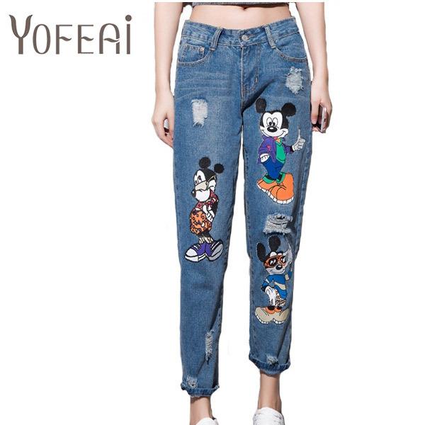 YOFEAI 2017 Jeans Mujer Denim Casual Tobillo-Longitud Pantalones de Las Mujeres de Impresión Pantalones Harem Ocasional Pantalones Femeninos Más El Tamaño 4XL 5XL