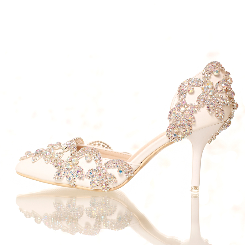 White crystal bridal shoes ultra thin heels font b women s b font shoes party shoes