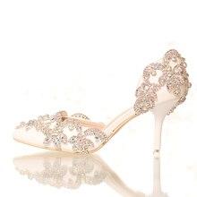 สีขาวคริสตัลเจ้าสาวรองเท้าอัลตร้าส้นเท้าบางรองเท้าผู้หญิงพรรครองเท้ารองเท้าผู้ใหญ่รองเท้าแต่งงาน