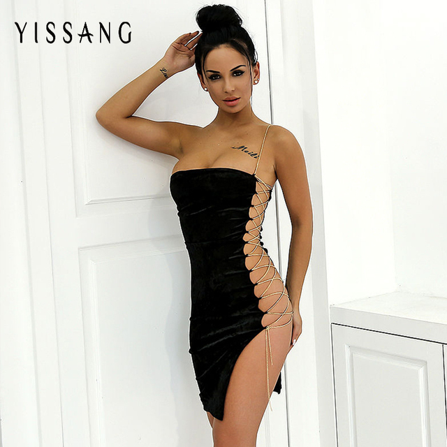 Yissang 2018 Summer Off Shoulder Dress Women Sexy Club Party Bandage Dress  Velvet Hollow Out Robe Femme Vestidos 082896955b67