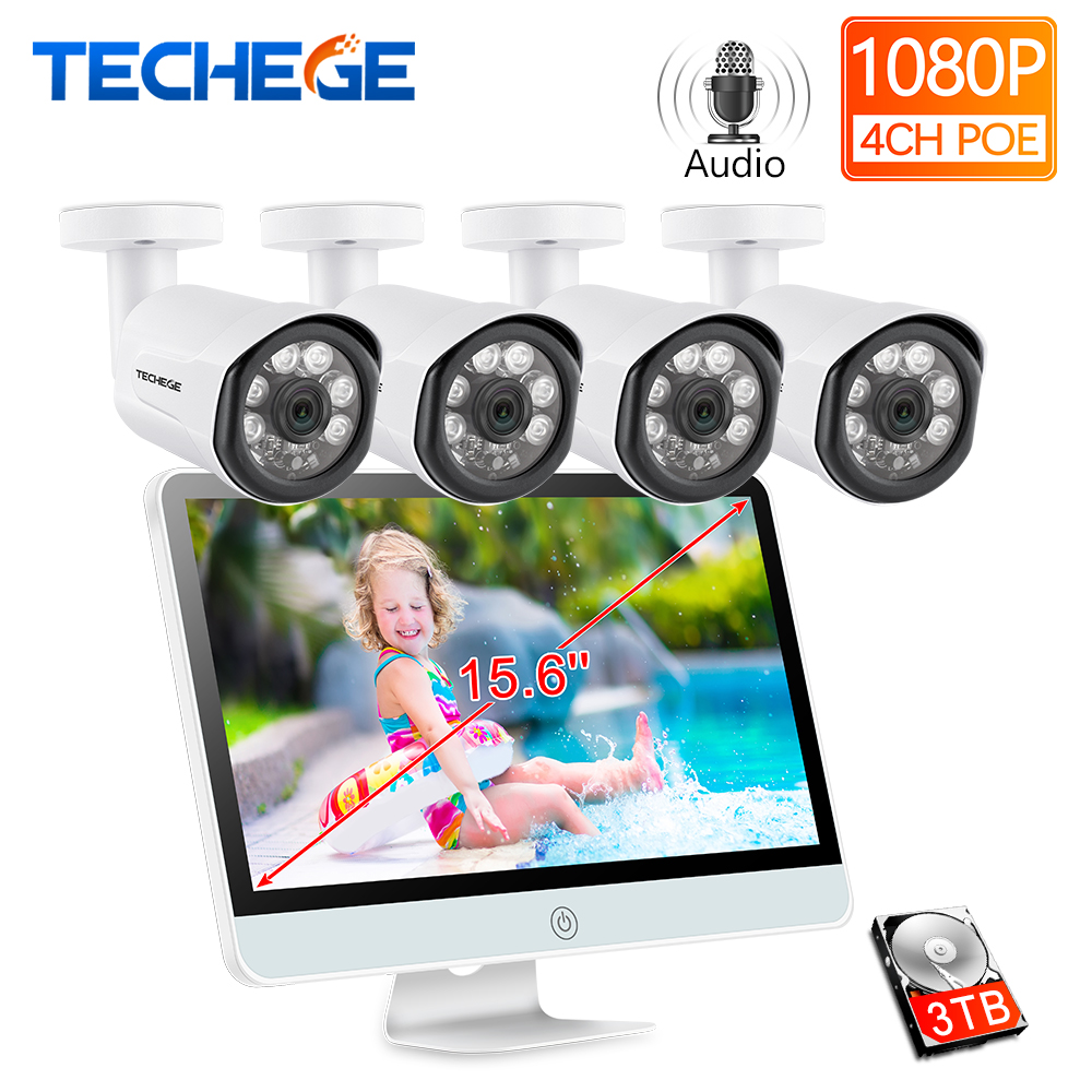 Techege 4CH 1080P POE NVR with 15 6 LCD Monitor 2MP Outdoor Camera Security Camera System