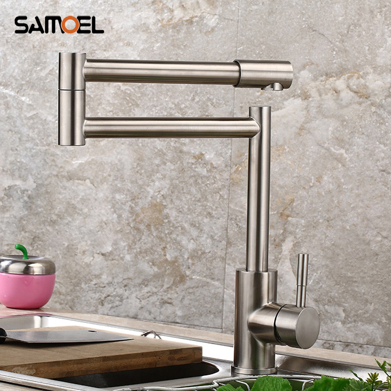 Samoel Popular Stainless Steel Deck Mounted Folding Kitchen Faucet SUS Sink Mixers Foldable With Rotating Spout NL703