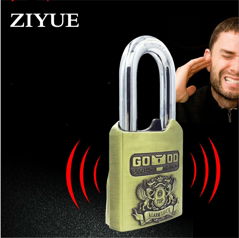 Free Shipping Alloy Padlock Intelligent Alarm Lock Anti-theft Pry Proof Warehouse Room Door Shop Motorcycle Lock 2017 new arrival goldatom super b padlock anti theft foil lock 3540 3550 3560