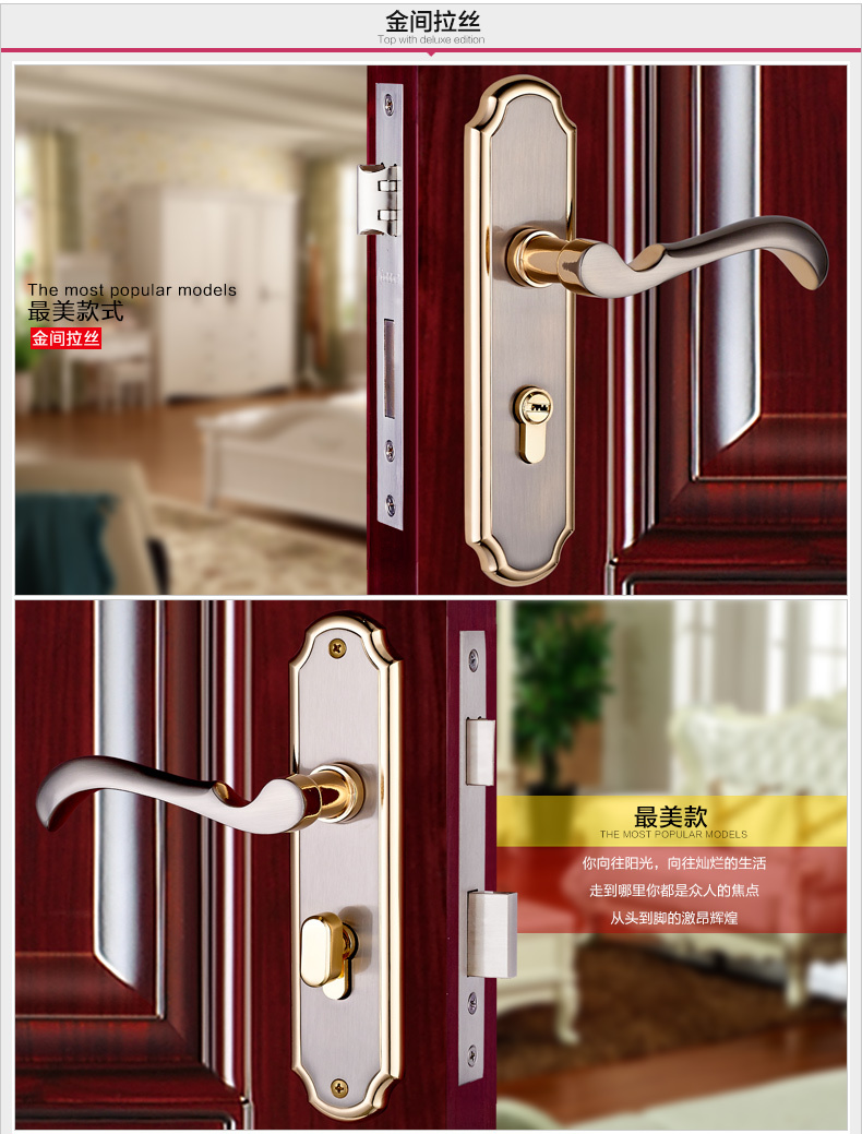 1 satin gold color solid T handle lock+2 hinges +1 Door Stop suction indoor mute bearing wooden door hardware versatile european fashion glass crystal live room book room door handles amber white indoor lock mechanical handle lock bearing lock body
