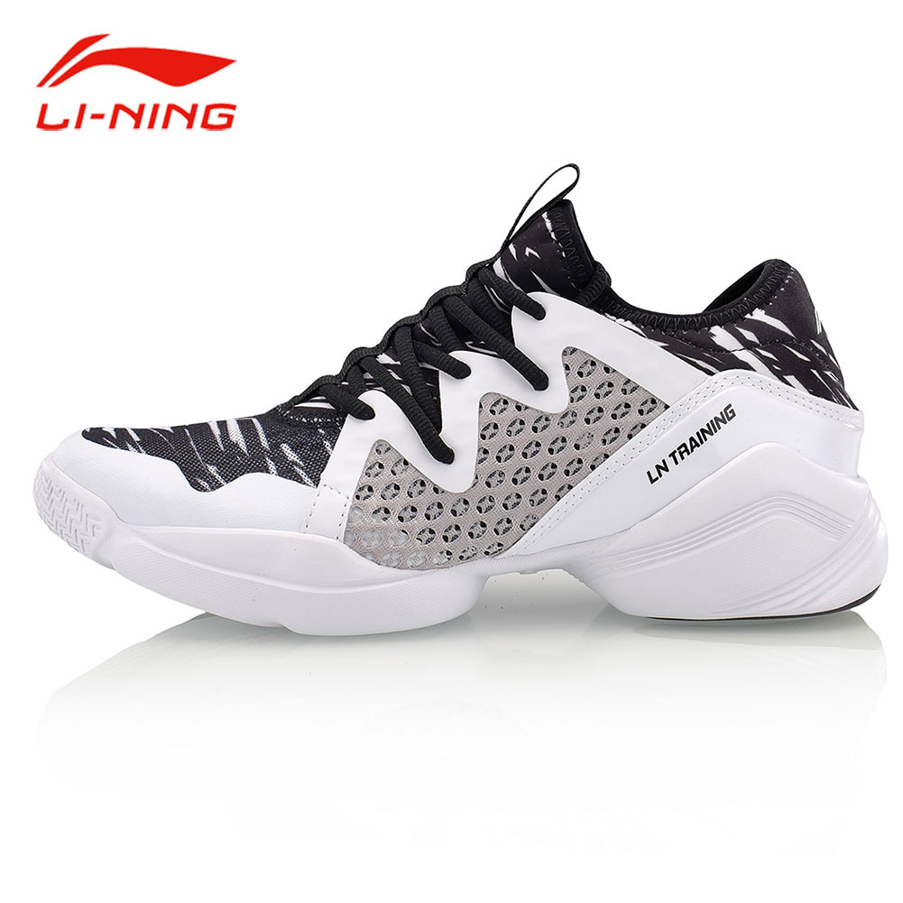 Li-Ning Women Flexible Training Dance Shoes Cushioning Breathable Sneakers LiNing Comfort Black And White Sports Shoes AFHM026 li ning brand men s professional basketball shoes cushioning breathable wade series team 4 sports sneakers lining abam013