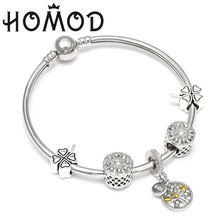HOMOD Vintage Silver Charm Bracelet with Tree of life Pendant Fits Brand  For Women Lucky Bangle Pulseras