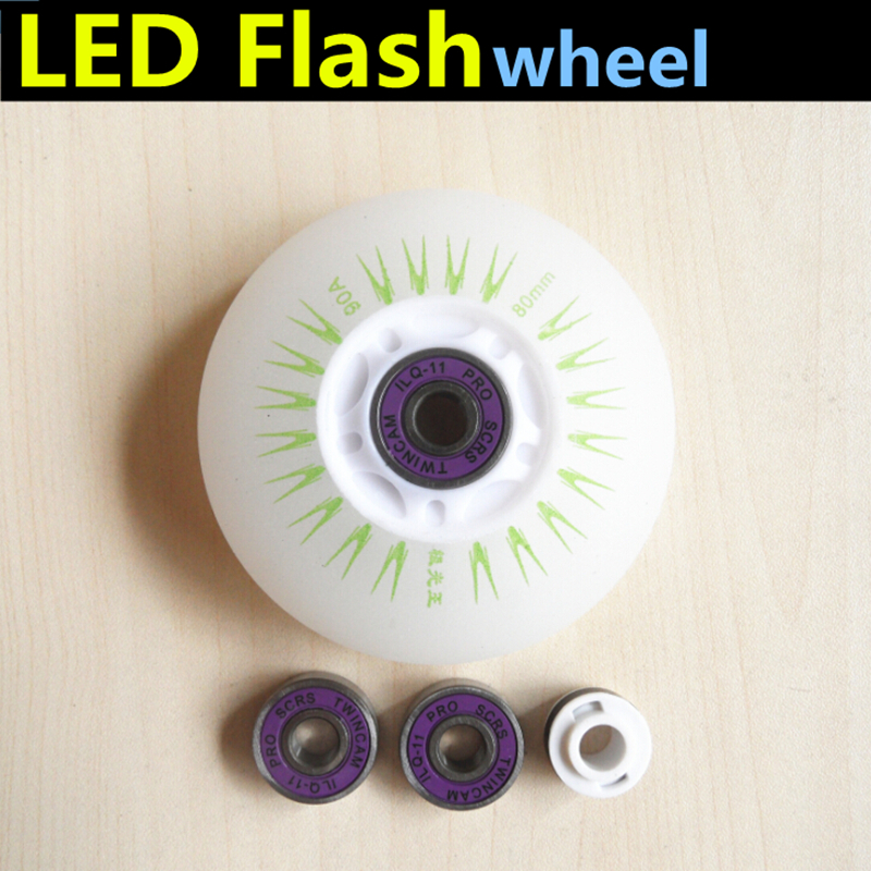 Wheel+Bearing 64mm 68mm 70mm 72mm 76mm 80mm LED Flash Roller Skating Wheel ILQ-11 608 Bearing Magnet Core For SEBA High FRM Igor