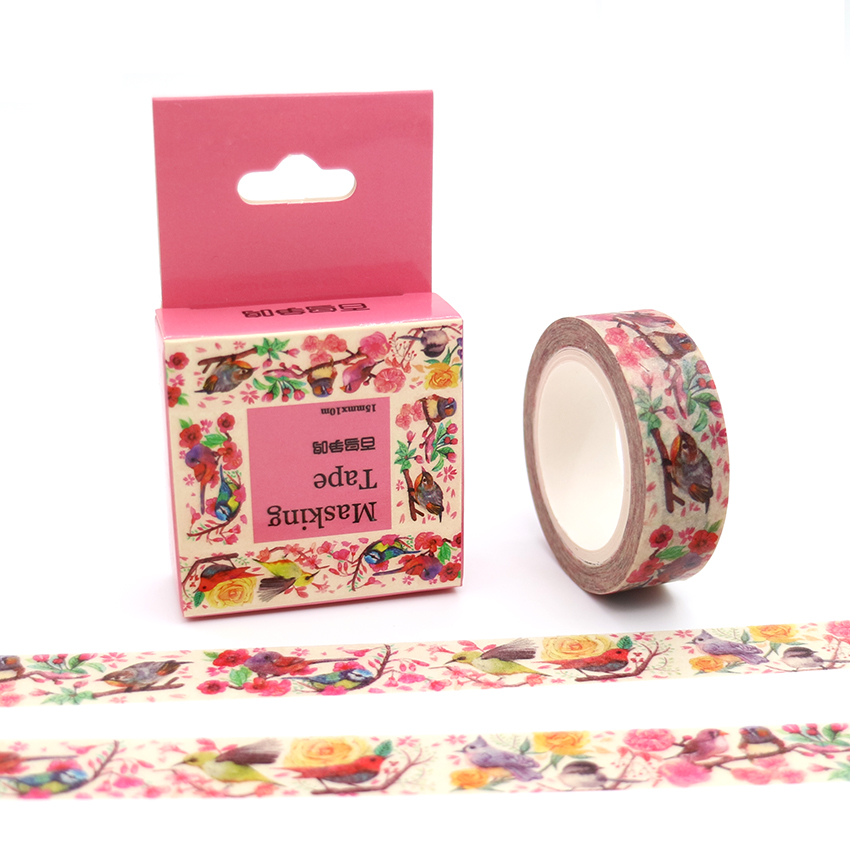 15mm*10m Box Package Birds Contend Washi Tape Adhesive Stickers Flower Pattern Masking Tape Cheap Price Decorative Tape