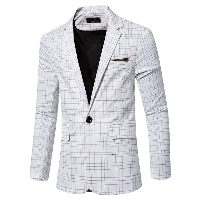 Casual Plaid Blazer Nouvelle Mode gentleman Slim Fit Hommes Veste Formelle  Costume D affaires De 976fc42c643