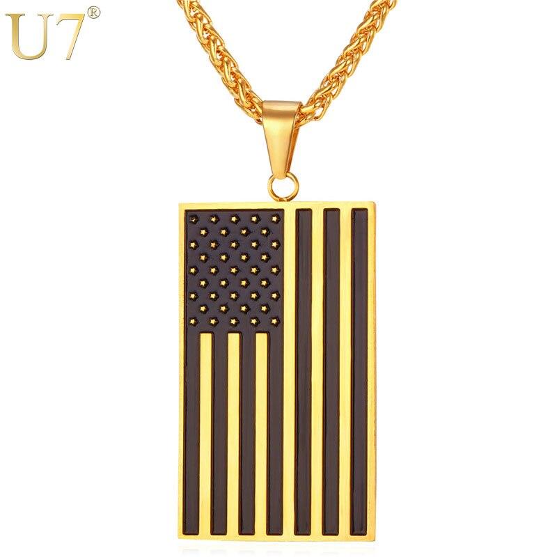 U7 Marca Collares y Colgantes de Oro EE. UU. Bandera de Color Inoxidable de acer