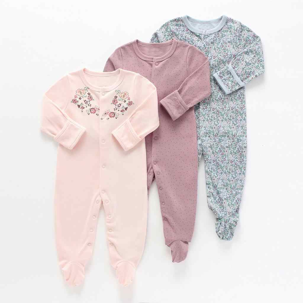 9777392aad6c Baby Girl Romper 3pcs Newborn Sleepsuit Flower Baby Rompers 2019 Infant  Baby Clothes Long Sleeve Newborn