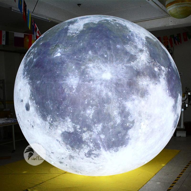 Design criativo tema festa palco teto superior luz led balão de lua inflável