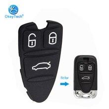 Сменная накладка OkeyTech из силиконовой резины с 3 кнопками для Alfa Romeo 159 Brera 156 Spider, черный корпус для смарт-карт, автомобильные подушечки для ключей