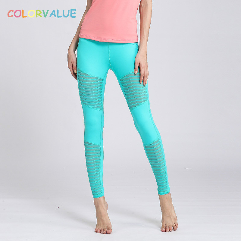 Colorvalue Solid Sport Fitness Leggings Women High Stretchy Yoga Pants Nylon Mesh Gym Athletic Leggings with Triangle Crotch leshp xm l t6 5000lm aluminum waterproof zoomable cree 5 mode led flashlight torch light for 18650 rechargeable battery or aaa