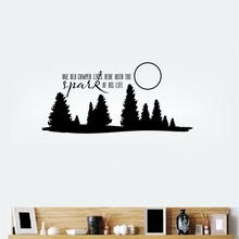 цена на Removable Wall Sticker One Old Camper Lives Here Wall Decal Forest And Moon Decal Home Mural DIY Art Curving Wall Sticker M-121
