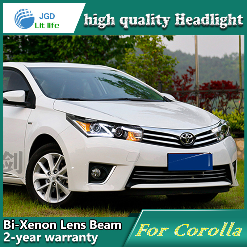 Car styling head lamp case for toyota corolla 2014 led headlights drl daytime running light bi-xenon