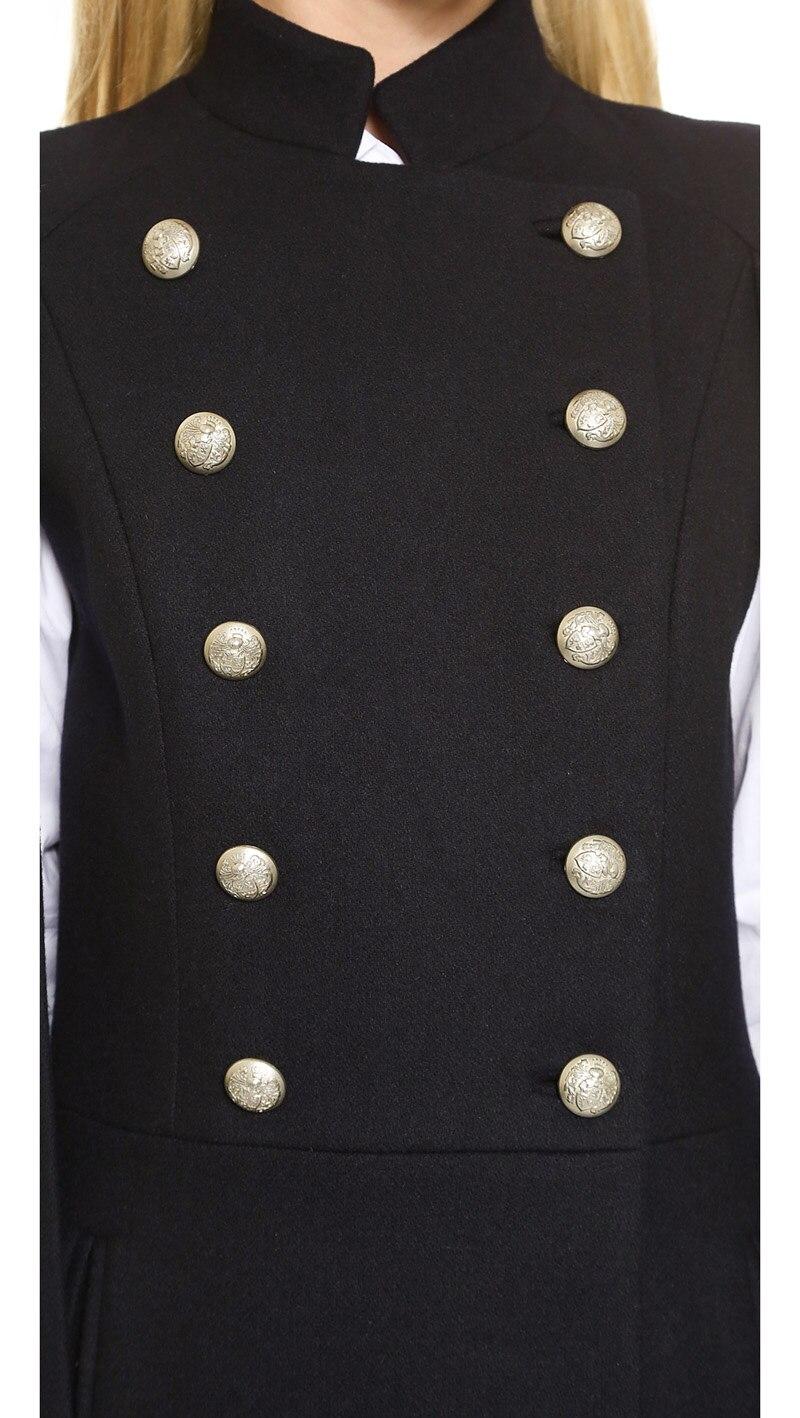 HAMALIEL, европейский стиль, женская накидка, шерстяное пальто, новинка, зимняя, черная, двубортная, стоячий воротник, Женский Тренч, верхняя одежда