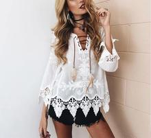 Elegant crochet floral lace blouse shirt Women 3/4 sleeve white Tunic blouses 2017 Autumn winter Girls hollow top Renda Blusas