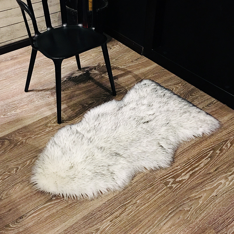 Faux Rownfur Mats Rug Cover Area Kids Carpet Shaggy Silky Modern Chair Fur Fluffy Home For Living Bath Washable Room 4