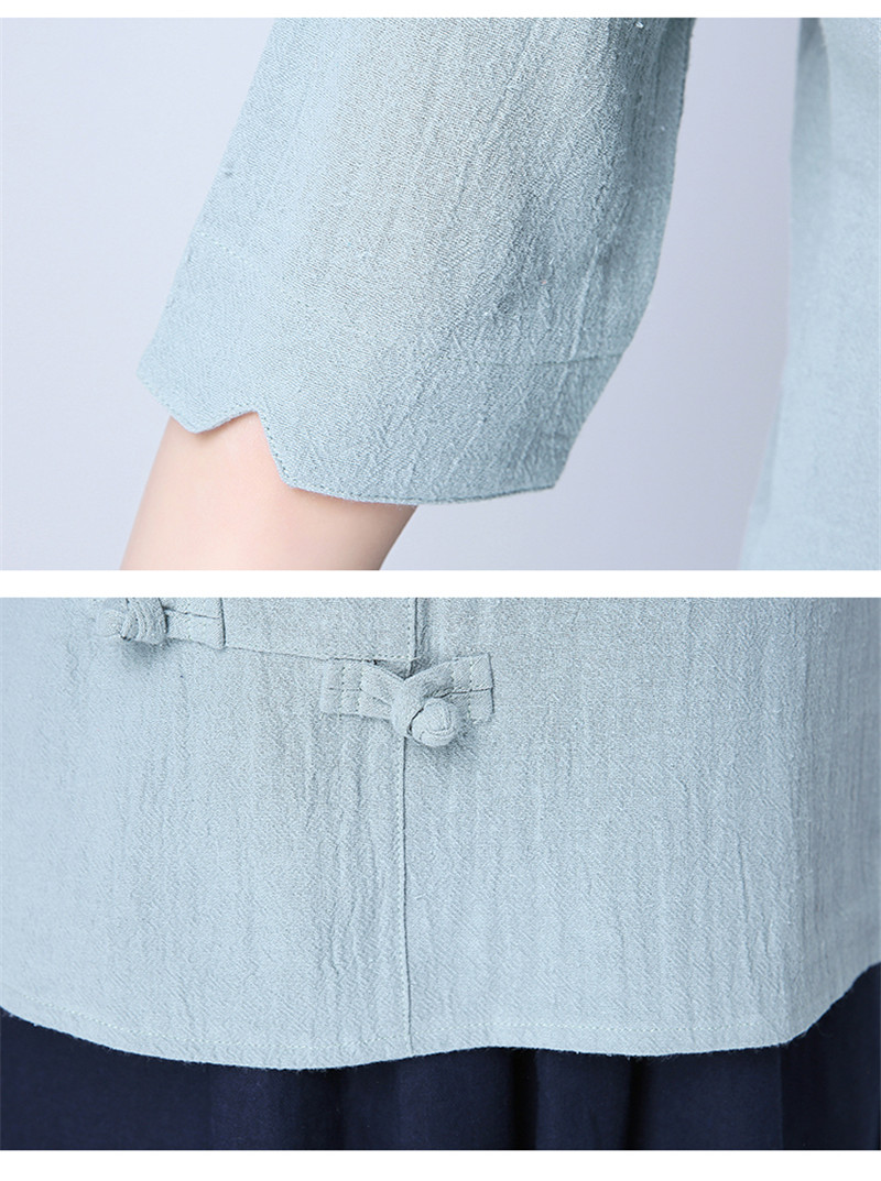 Cotton 2018 Summer Half Sleeve Loose Lady Vintage Women Shirt O Neck Chinese Style Linen T-Shirt Button 3XL 24