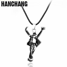 DROP SHIPPING Classic Jewelry Necklace Pop Star Singer Enamel Pendant Dancing Michael Jackson Leather Cord Necklace Souvenirs