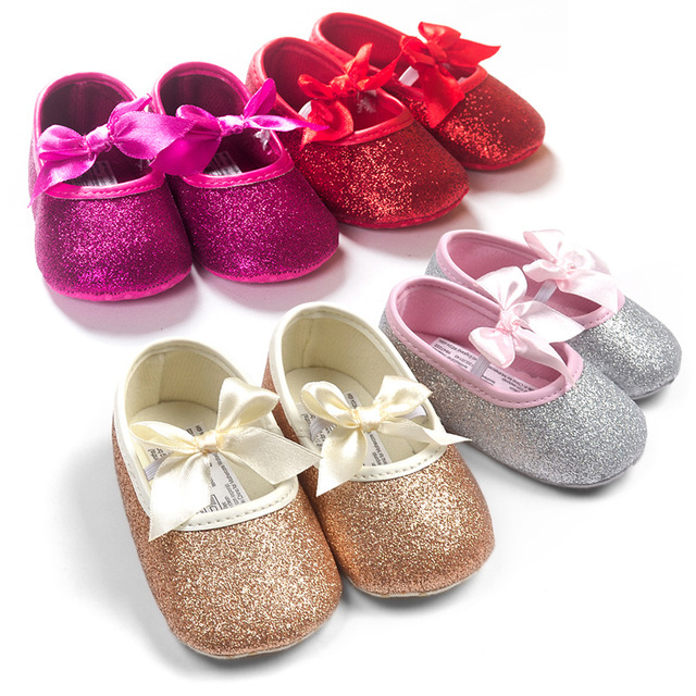 0e9a3f920300 Hot Sale Baby Gold Glitter Shoes Infant Toddler Sequin First Walkers with  Ribbon Bow Newborn Crib Shoes Prewalkers 0M-18M 6Pairs