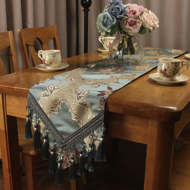 Classic Vintage Blue Luxury Table Runner For Formal Dinning Home Decorative Jacquard Elegant