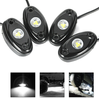 4Pcs Universal Fit 9W High Power LED Xenon Rock Light Kit Underbody Glow Trail Rig White