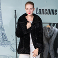 Genuine Mink Fur Coat Women Zipper Hot Elegant Floral Real Mink Fur Knitted Jacket Lady Coat Female 2016 Winter Warm Fur Outwear