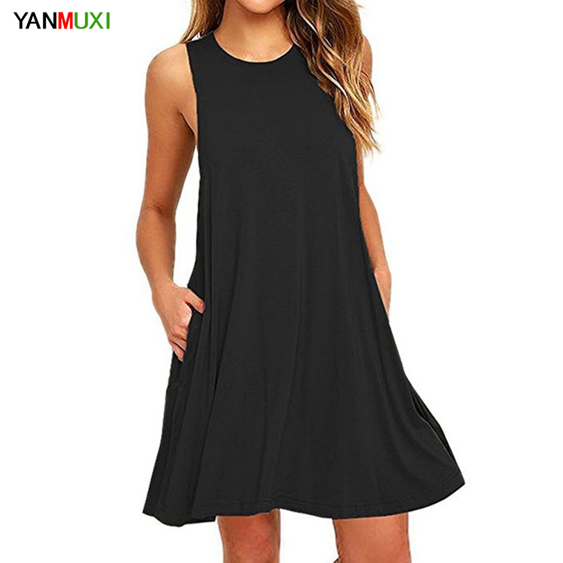 2018 New Tank Dress Women Clothes Sexy Strapless Short Summer Robe Black XXL With Pockets Loose Casual Beach Party Dresses