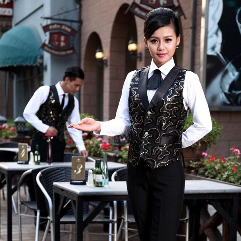 KTV Hotel Waitress Workwear Vest Female Bar Restaurant Uniforms Catering Fast Food Hot Pot Shop Waiter Uniform Overalls H2401