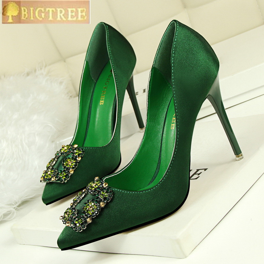 8b5977beb4845b 2018 New Fashion Crystal Metal Square Buckle Women Pumps Soft Silk High  Heels Shoes Sexy Pointed Toe Shallow Women s Party Shoes