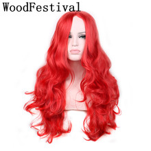 actual photo heat resistant 75 cm red wig curly synthetic wigs blonde wig long black wigs hair for women WOODFESTIVAL  недорого