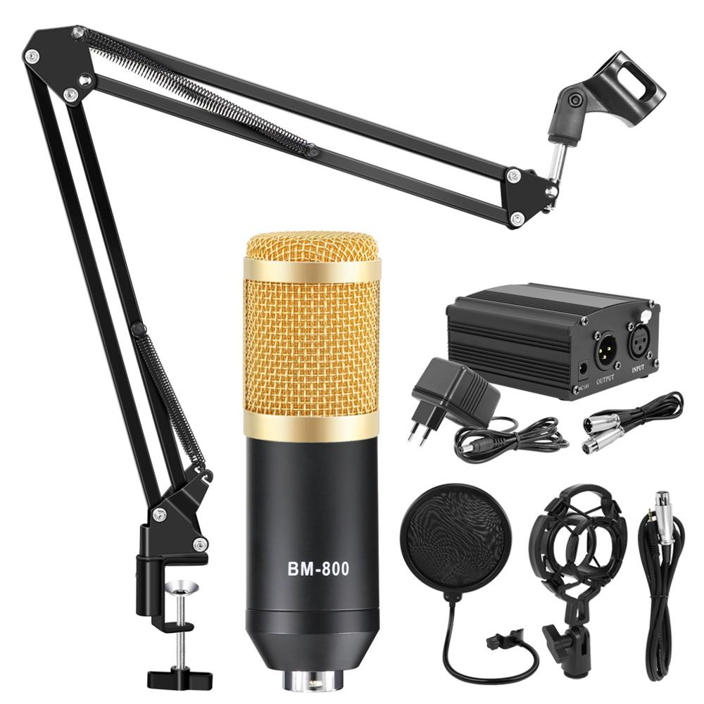 BM800 Condenser Microphone Karaoke Studio Microphone 48V Phantom Power Microphone Stand Professional Mic Kit Stand Filter