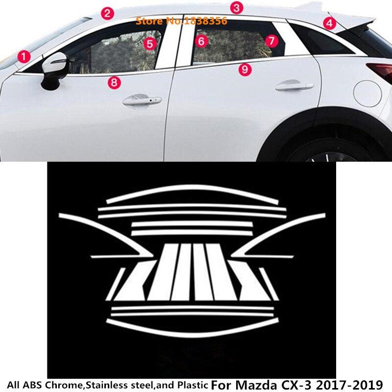 Hot sale Car styling body stainless steel glass window garnish pillar middle column strip trim for Mazda CX-3 CX3 2017 2018 2019