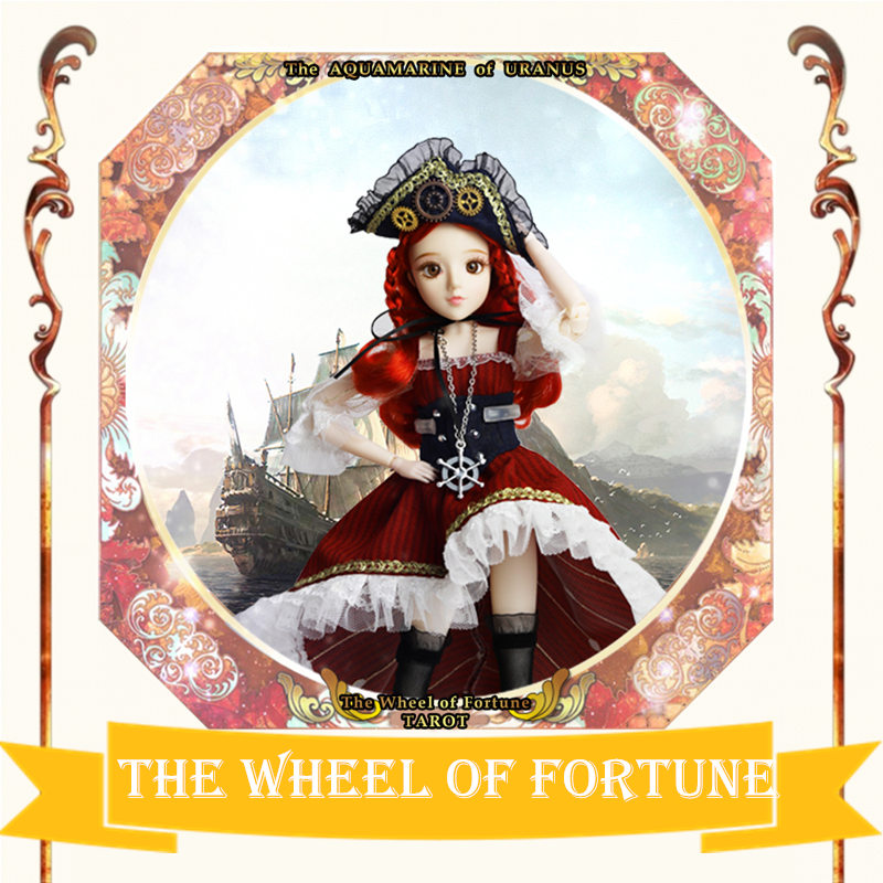 MM girl Major Arcana The Wheel of Fortune joint body doll red hair TAROT CARD 34cm East Barbi the classic tarot карты