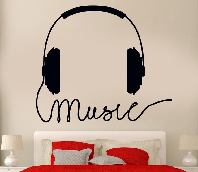 New Music Stylist Vinyl Wall Decal Headphones Sign Rock Pop Songs Cool Decor For Bedroom