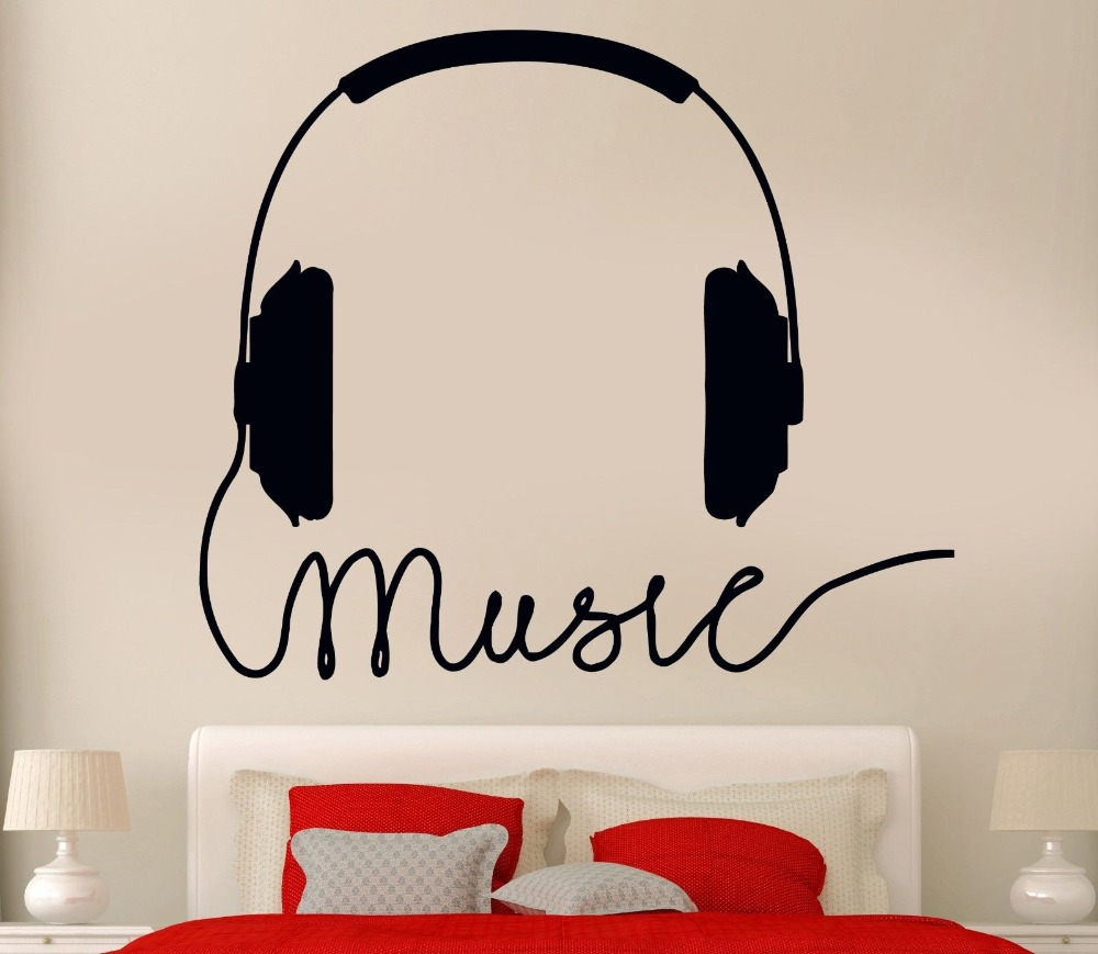 New Music Stylist Vinyl Wall Decal Headphones Music Sign Rock Pop Songs Cool Decor For Bedroom Art Wall Sticker Home Decoration image