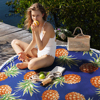 CUPSHE Boho Beach Towels Pineapple Printed 2020 Women Vacation Microfiber Round Fabric Bath Towel With Tassel 8 styles 1