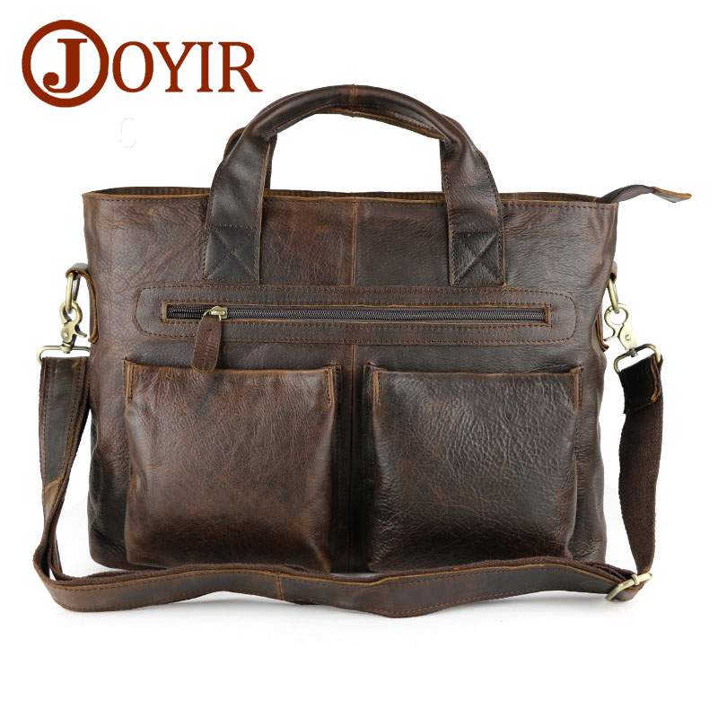 купить JOYIR Genuine Leather men briefcase bag handbag male office bags for men Crazy horse leather laptop bag Briefcase Messenger bag по цене 4821.69 рублей