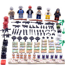 6pcs New Legoing PUBG FPS Game MILITARY Winner Eat Chicken Dinner Model set Building Blocks Mini Figures Toys Boys Gifts(China)