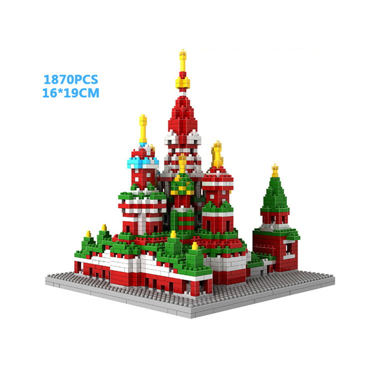 World famous architecture micro diamond building block Saint Basil's Cathedral moscow russia nanoblock brick toy collection цена