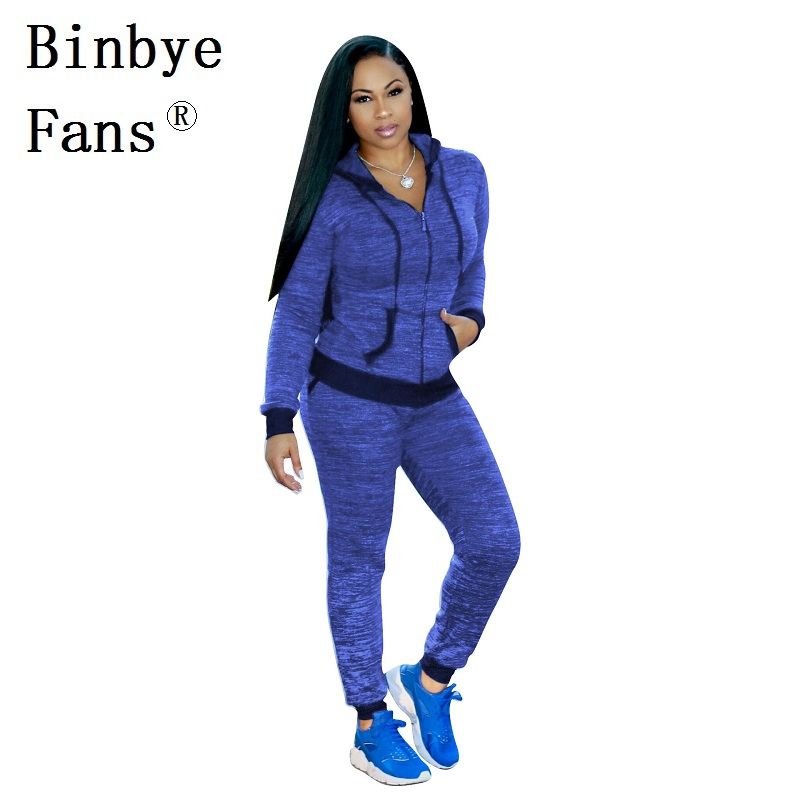 Binbye Fans Two Pieces Set Casual Long Sleeve Zip Hooded Jacket Tops+Skinny Pants Sweat Suits 2 Piece Outfits Tracksuit CH336