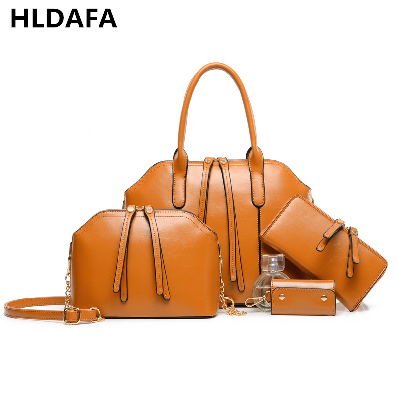 2018 Women Bag Luxury Brand Handbags Leather Women Messenger Bags Chain Shoulder Bags Composite Bag 4 Sets Big Size Tote Fashion giaevvi luxury handbags split leather tote women messenger bags 2017 brand design chain women shoulder bag crossbody for girls