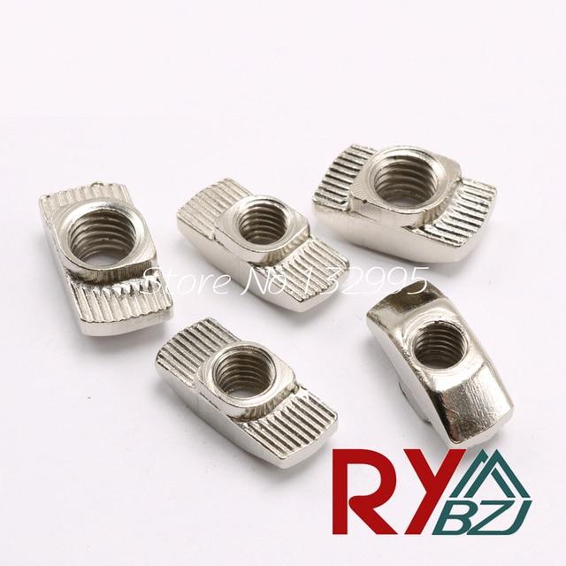 20/30/40/45-M3/M4/M5/M6/M8 T Nut Hammer Nut Carbon Steel Nickel Plated T Fastener Sliding Nut Connector Aluminum Profile