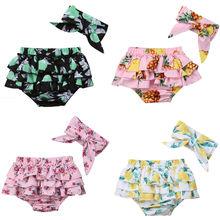 Новорожденных детские шорты для маленьких девочек цветочные короткие трусы+ повязка 2 шт. Нарядная одежда для малышей одежда принцессы милые шорты